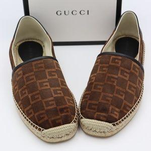 Gucci GG Logo Print Brown Suede Espadrilles
